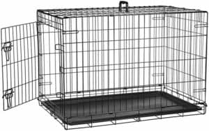 amazon basics single double door folding metal crate